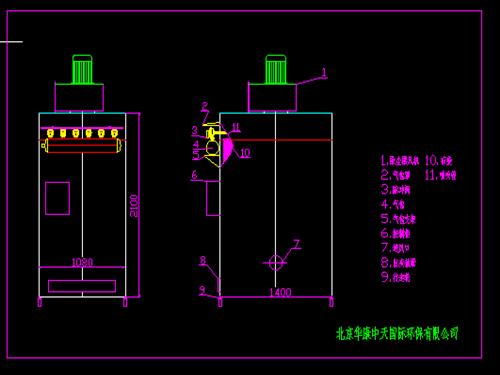 48袋移动式单机除尘器cad结构图纸
